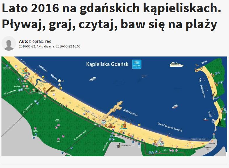 Lato 2016 na gdańskich kąpieliskach. Pływaj, graj, czytaj, baw się na plaży